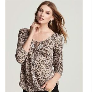 Rebecca Taylor Leopard Animal Print Ruffle Top
